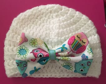 Baby girl hat. Handmade hat. Crochet hat. Owl bow hat.