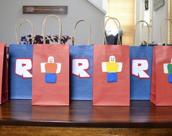 ROBLOX FAVOR BAGS - Set of 12, Roblox inspired party bag, Roblox theme party, Roblox inspired favor, Roblox party favors, Roblox party decor