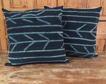 Authentic Vintage Indigo Mud Cloth Pillow Cover/DYANI 22 x 22