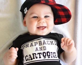Snapbacks and Cartoons - Trendy Baby Boy Clothes, Trendy clothes boy, Handmade Bodysuit, Trendy Baby Outfit, Funny Baby Boy Outfit, Baby Boy