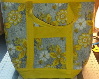 Gray Floral with Sunshine Yellow Accents - New Reduced Price!