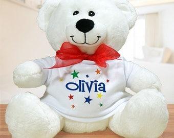 Personalized colorful stars plush teddy bear Custom Name Gift