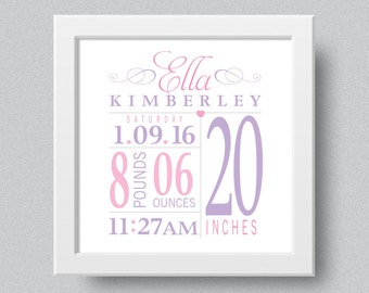 Framed Birth Announcement, Baby Stats, Nursery Decor, Custom, Personalized, Gifts Under 50
