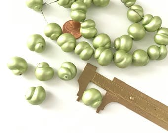 Vintage Neon Green Glass Twisted Shell Beads