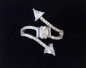 Pretty Rhinstone Arrow Ring - Sterling Silver