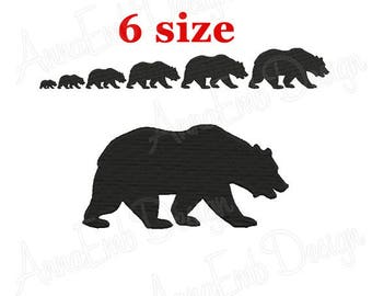 Bear Embroidery Design. Bear Silhouette Embroidery design. Bear Design. Mini Bear. Machine embroidery design. Animal embroidery.