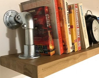 Floating Oak shelf with a pipework bookend , oak shelving , kitchen storage , industrial style shelving urban living furniture  made to orde