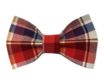 Red, White and Blue Plaid Vintage Shirting Dog Bow Tie