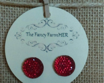 Red sparkle button earrings