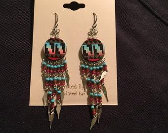 20% OFF SALE***Native American Hand Painted Drop Earrings