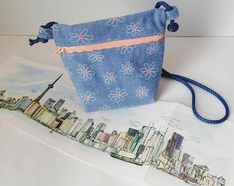 Sale! Modern denim purse for little girls, flower pattern, red and white striped inner lining, zipper