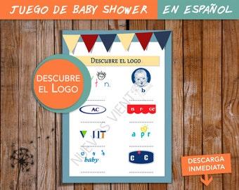 Baby shower game SPANISH -  Juego en ESPAÑOL -  Baby shower NIÑO - Juego para Baby Shower - Descubre el logo - juego original