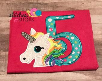Unicorn Birthday Girl Appliqued Shirt