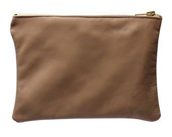 Tan leather zipper pouch