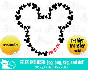 Mickey Heads Monogram Custom Name MOM SVG, Mickey Monogram Text SVG, Disney Digital Cut Files in svg, dxf, png and jpg, Printable Clipart