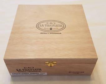 Wooden Cigar Box, CAO La Traviata, Brown Wood Cigar Box