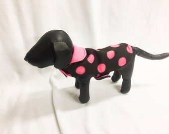 Pink Spots On Black Dog Coat 3015