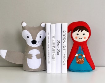 Little Red Riding Hood, Bookends, book ends, children's bookends, room decor, Fairy tale, characters, books, Big bad wolf, storys, felt