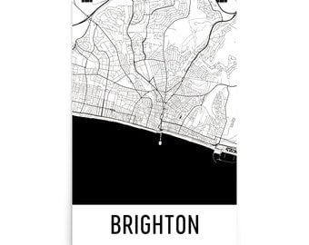 Brighton Map, Brighton Art, Brighton Print, Brighton England Poster, Brighton Wall Art, Map of Brighton, Brighton Gift, Brighton Decor, Map
