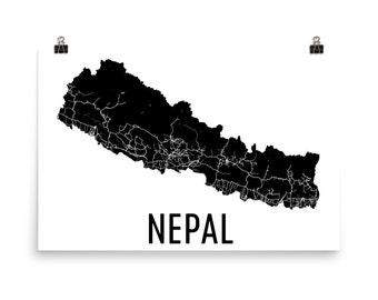Nepal Art, Map of Nepal, Nepal Map, Nepali Poster, Nepal Wall Art, Nepal Poster, Nepali Gifts, Nepali Decor, Nepali, Nepal Art Print