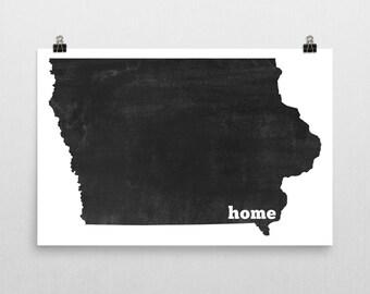 Iowa Home, Map of Iowa, Iowa Print, Iowa State, Iowa Map, Iowa Wall Art, Iowa Art, Iowa Sign, Iowa Gifts, Iowa Decor, Iowa Poster