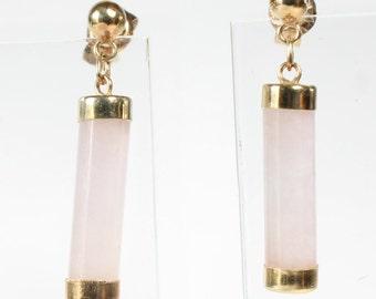 Rose Quartz Earrings 14k Gold Post Drop Gift for Her
