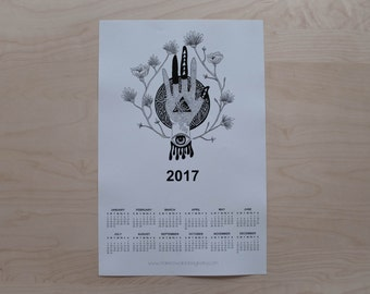 Illustrated 2017 Calendar - Floral Palm
