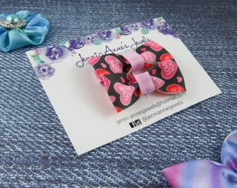 Bow Tie Hair Clip - Set of 2 - Love Hearts