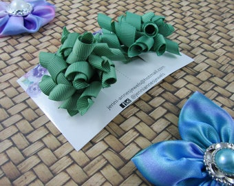 Mini Korker Bows Clips - Set of 2 - Dark Greens