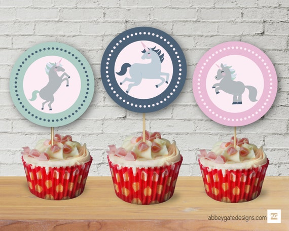 Cake Decoration Printable : Unicorn Cupcake Toppers Printable Cake Toppers Unicorn Party