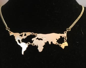 Golden World Map Necklace