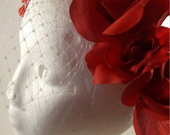 Red flowered veil headband, Flowered headband, Flowered headpiece,  Birdcage Headwear, Maroon flowered birdcage headwear, Hair accessory