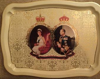 Vintage Queen Elizabeth II Silver Jubilee Souvenir Tray