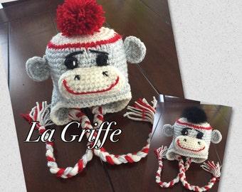 Tuque Bas de laine singe money rouge blanc gris avec fourrure ou pompons laine fait à la main produits québec