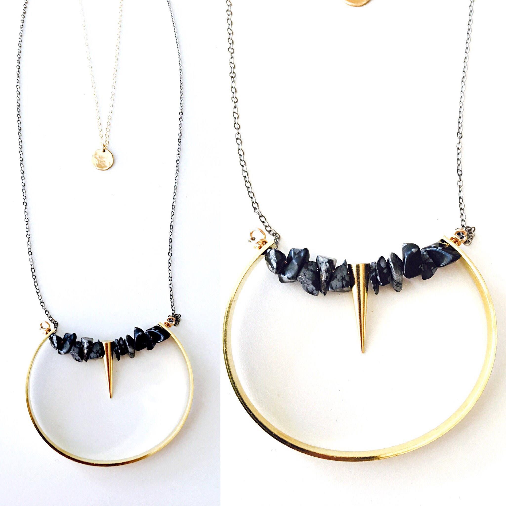 The Wilder Necklace // glamrock jewelry// onyx// brass geometric jewelry// double strand necklace// geometic jewelry// mixed metal jewelry