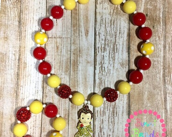 Beauty and The Beast Belle Inspired Bubblegum Chunky Necklace Set