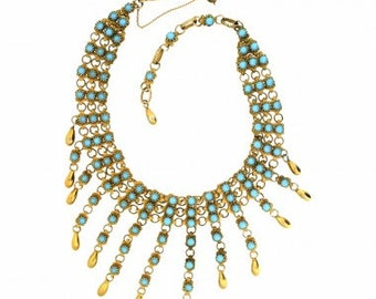 Christian Dior by Mitchel Maer 1950s Turquoise Vintage Necklace