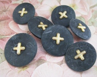 Set of 7 Plastic Blue Gold Buttons