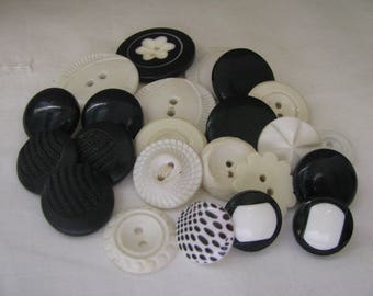 23 Vintage Black White Plastic Buttons