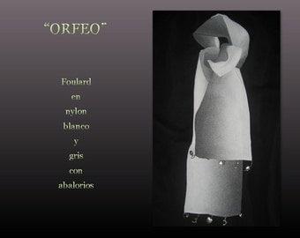 Orpheus. Cloth in white and grey nylon.