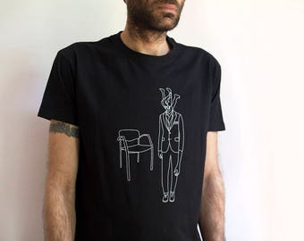 "T-shirt designed and silkscreened ""homemade"""