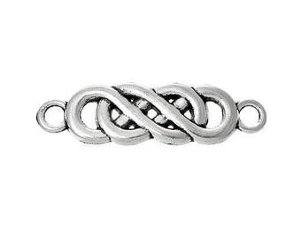 10 pc Antique Silver Twisted Infinity Connector 22x6mm
