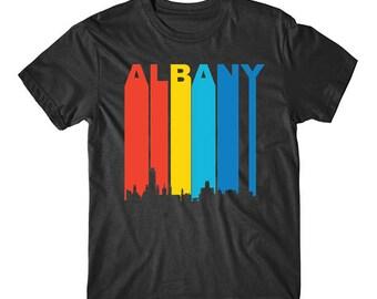 Retro Albany New York Cityscape Downtown Skyline T-Shirt