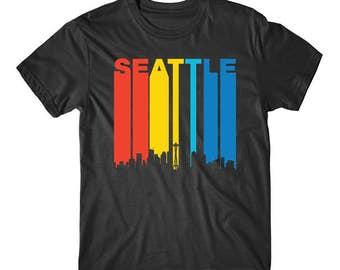 Retro 1970's Style Seattle Washington Cityscape Downtown Skyline T-Shirt