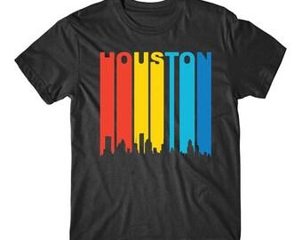 Retro 1970's Style Houston Texas Cityscape Downtown Skyline Shirt