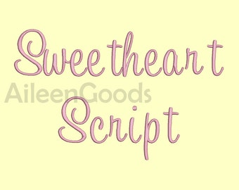 Sweetheart Script  Embroidery Font 7 Size  INSTANT download machine embroidery