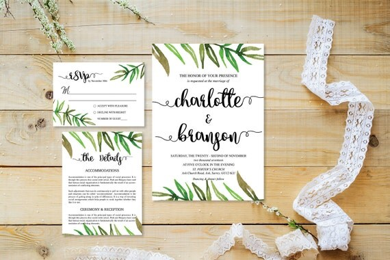 Watercolor leaf wedding invite_4,Printable Wedding Invitation Suite,Wedding Invite Set,Wedding Printable,Calligraphy