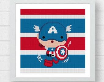Cute Captain America Cross Stitch Pattern/marvel cross stitch/captain cross stitch/cross stitch heroes/superheroes pattern#01-002