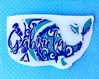 Pattern Whale with Name - Personalized Whale Decal - Whale decal -Laptop Whale decal - car whale decal - cute whale decal