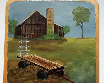 Farm Cart and Barn Tin Painting